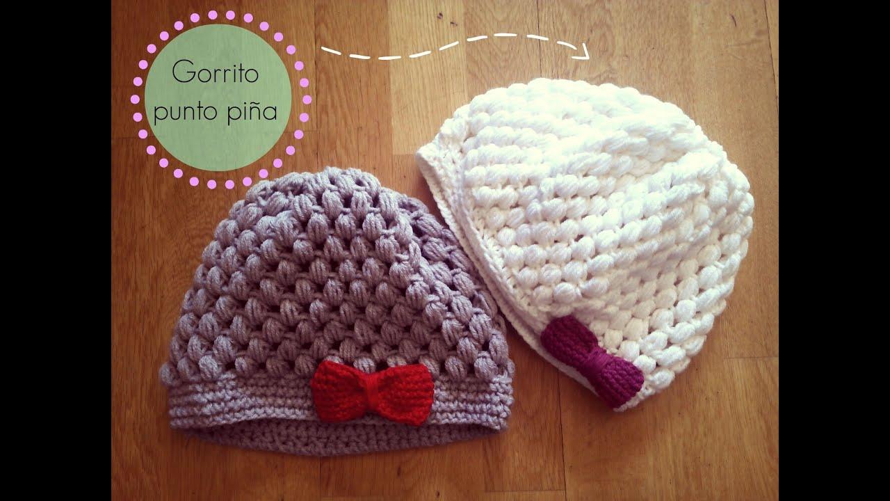 ganchillo fácil punto piña - Crochet Hat Puff Stitch (Tutorial paso