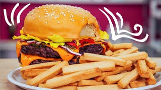 How To Make A GIANT CHEESEBURGER & FRIES out of CAKE   Yolanda Gampp   How To Cake It