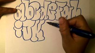 how2art how to draw graffiti alphabet throwies