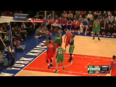 Brandon Bass Bangs Inside by Amar'e   Celtics vs Knicks   December 8  2013   NBA 2013 14 Season