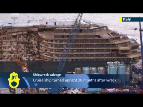 Costa Concordia Shipwreck Salvage: Cruise ship turned upright 20 months after capsizing near Giglio