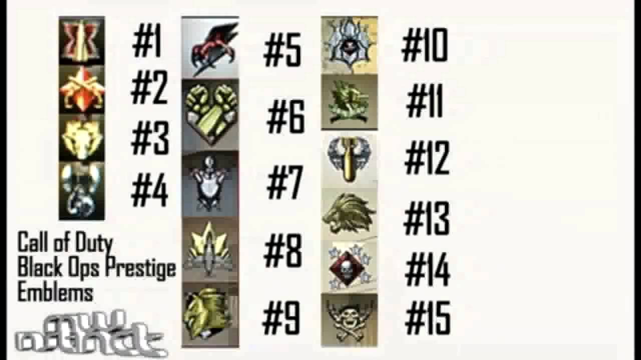 CoD Black Ops: ALL 15 Prestige Emblems and Awards! - YouTube