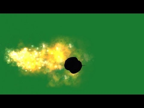 flying space object with fire tail - green screen effect
