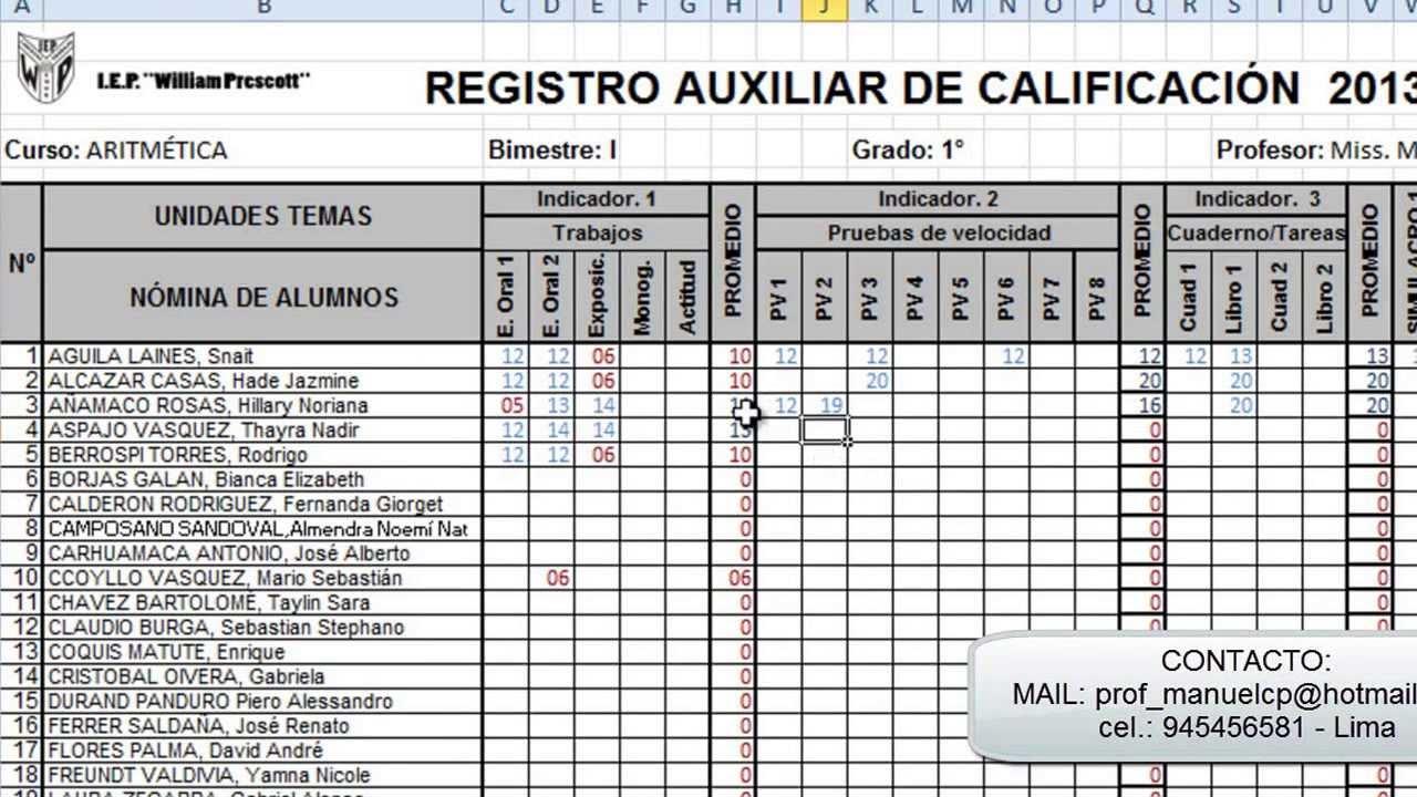 sistema de registro completo en excel