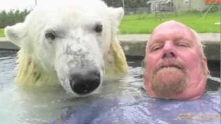 The Only Man Who can swim with Polar bear..