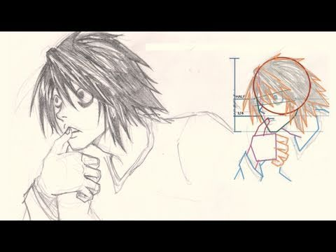 "How to draw Face L Death Note, http://idrawgirls.com/tutorials/2011/10/24/how-to-draw-l-death-note/ for step by step images and more info. How to draw Manga face, ""L"" from Death Note. From..."