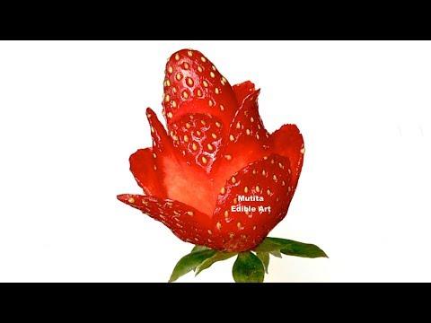 Strawberry Rose Flower - Beginner's Lesson 49 by Mutita Art of Fruit & Vegetable Carving