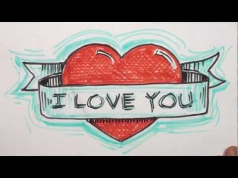How To Draw Graffiti Hearts How to draw heart with banner