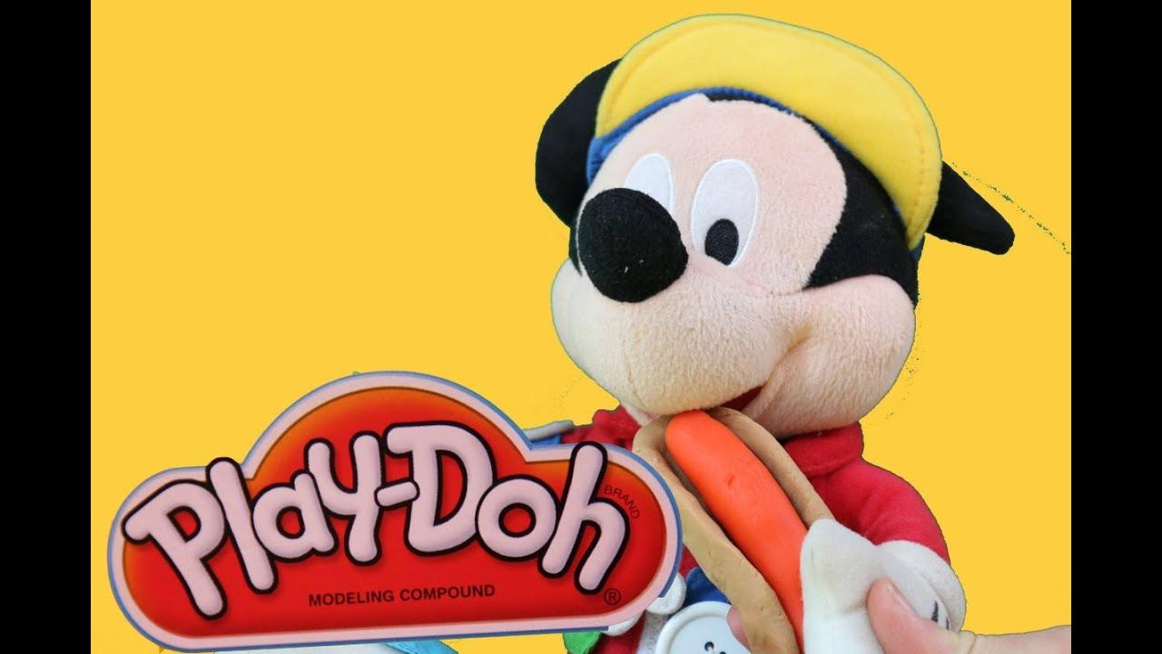 Mickey mouse makes play doh hot dog play dough tutorial diy playdough