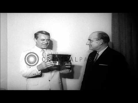 Cary Grant gets theater award for his movie That Touch of Mink at Radio City Musi...HD Stock Footage