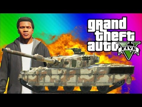 GTA 5 Tank FUN - Explosions, Running Over Cars, Trick Shots (GTA 5 Funny Moments & Gameplay),