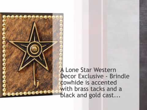 Cowhide and Star Single Hook - OVERSTOCK - lonestarwesterndecor.com