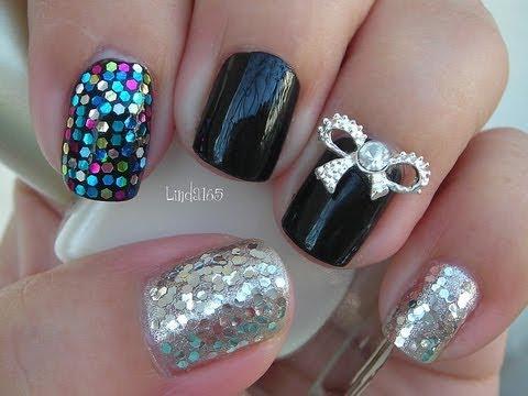 Nail Art - Silver Bow Kpop Inspired