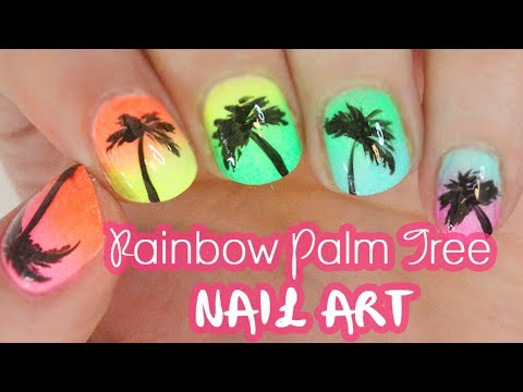 RAINBOW Palm Tree Nails for SUMMER!!!