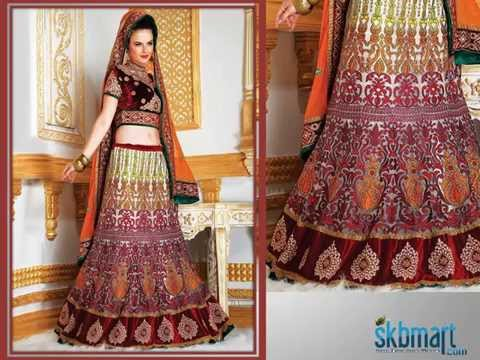 New INDIAN Bridal Fashion Trends - Velvet and Net Lehenga Choli at skbmart.com