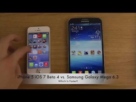 iPhone 5 iOS 7 Beta 4 vs. Samsung Galaxy Mega 6.3 - Which Is Faster?, ►►► Check out main channel for more awesome videos: ►►► http://goo.gl/o0l91 Hi, and welcome to my tech channel. My name is Adrian Isén and I'm a swedish YouT...