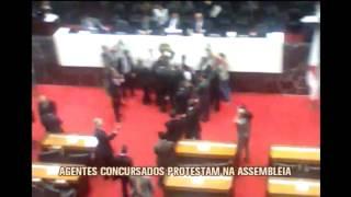 Agentes concursados protestam na Assembleia