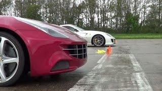 FERRARI V12s contra  599 GTO v FF | 1 mile drag race
