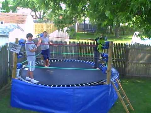 backyard trampoline wrestling ring youtube