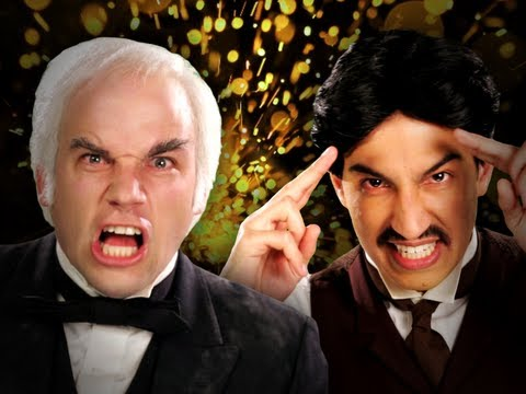 Thumbnail of video Nikola Tesla vs Thomas Edison.  Epic Rap Battles of History Season 2.