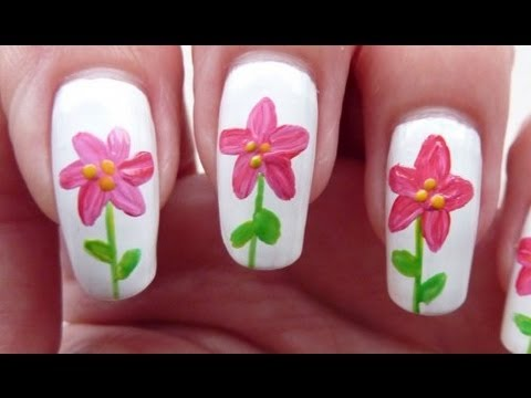 Easy Pink Red One Stroke Style Flower Nail Art Tutorial Using