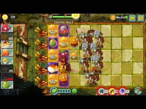 Plants vs Zombies 2 - Lost City Part 1 All Plants new Costumes