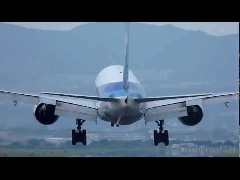 Close-up landing scenes of 19 airplanes at OSAKA airport
