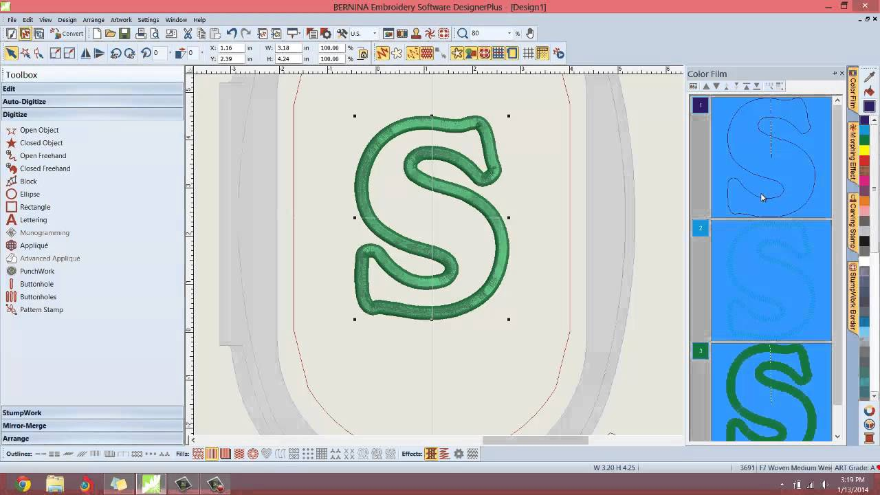 Easy applique via art canvas bernina embroidery software