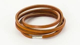 Браслет намотка N-5 коричневый кожаный с лазерной гравировкой
