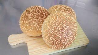 簡單 做 芝麻 漢堡 麵包 中種法 easy to make Burger buns 漢堡包 homemade hamburger Sponge-Dough Method