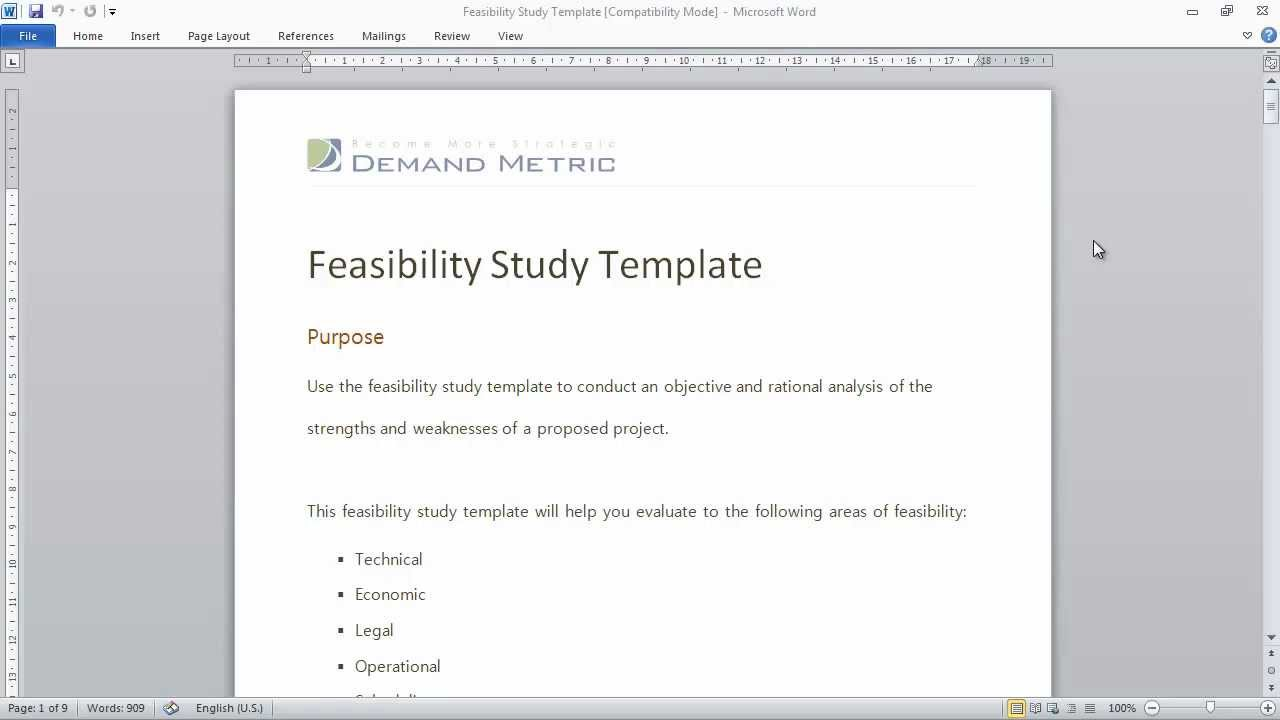 feasibility analysis template .