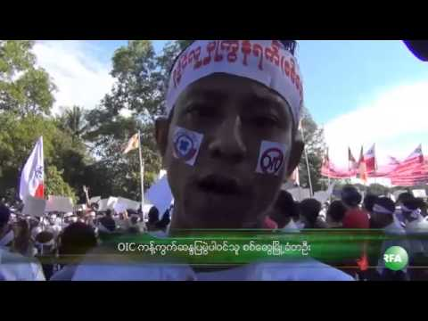 RFA Burmese on 15 Nov 2013,Thousands in Sittwe, Yangon protest against OIC visit