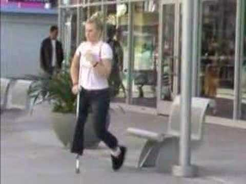 Amputee brittney stump show with one crutch - 3 part 10