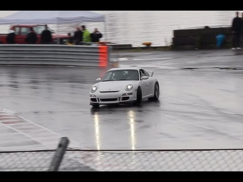 Supercars having fun in the wet! Lamborghini Gallardo, Nissan GTR, BMW M5, M6, Porsche GT3