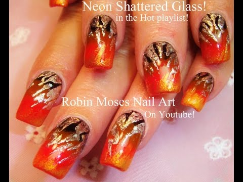 Shattered Glass Nail Art - Neon