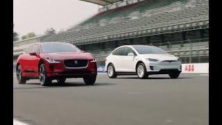 Jaguar I-Pace vs Tesla Model X 75D drag race. Auto Express.