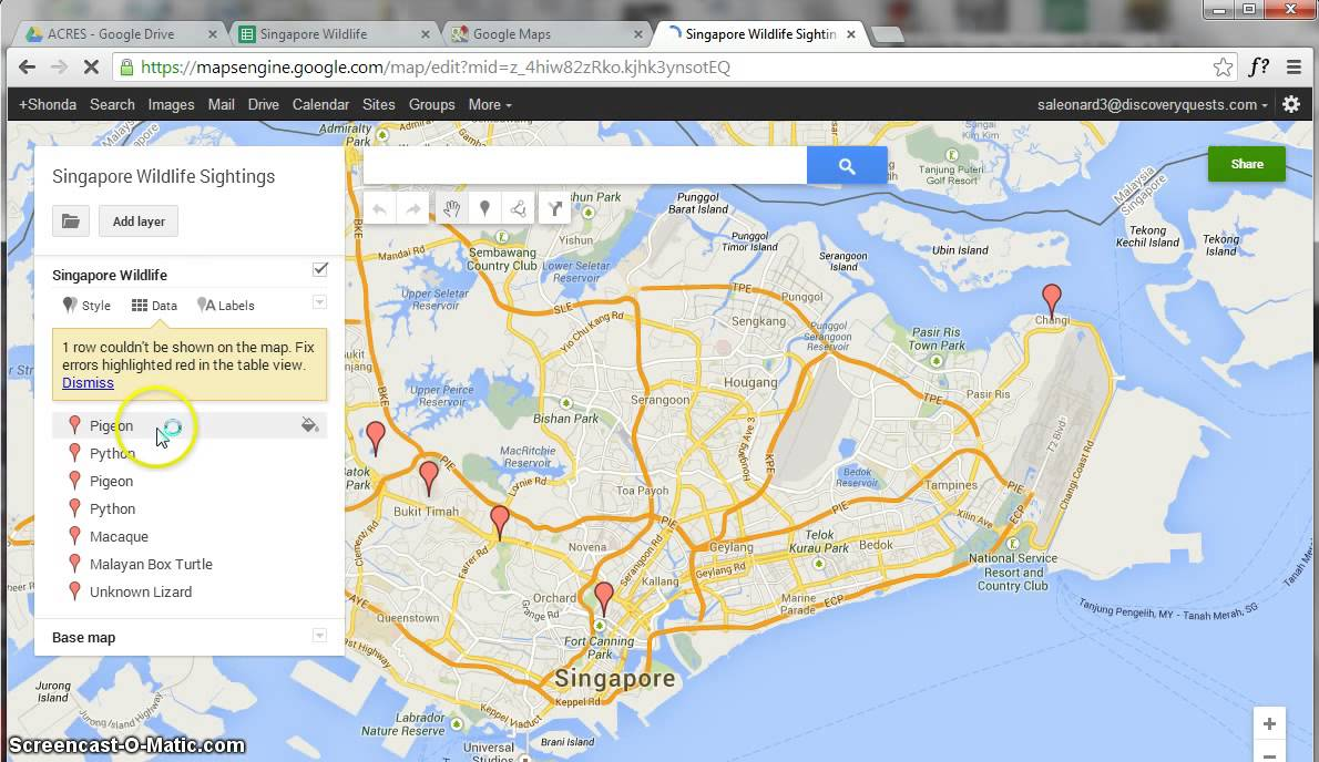 Importing Spreadsheets Into Google Maps Youtube