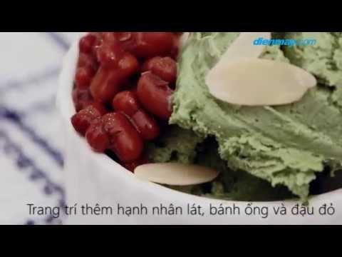Làm kem trà xanh đậu đỏ bằng máy xay sinh tố