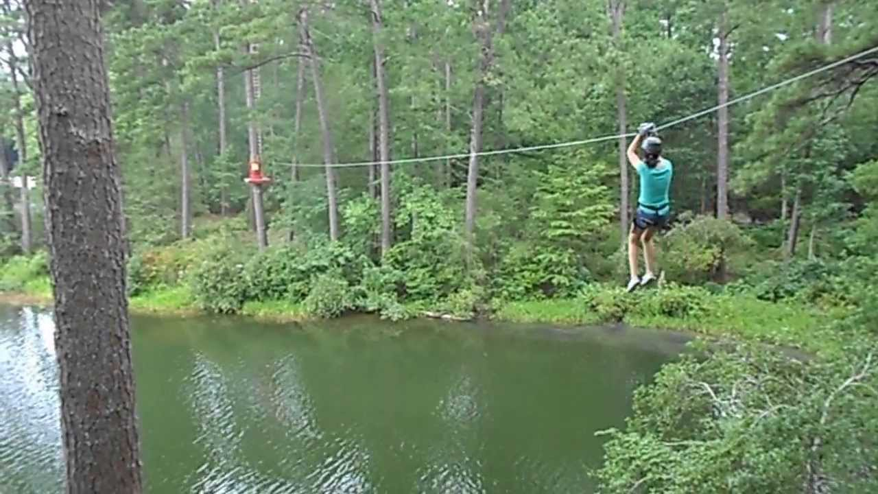 Erin at callaway gardens zipline lake course youtube for Callaway gardens treetop adventure