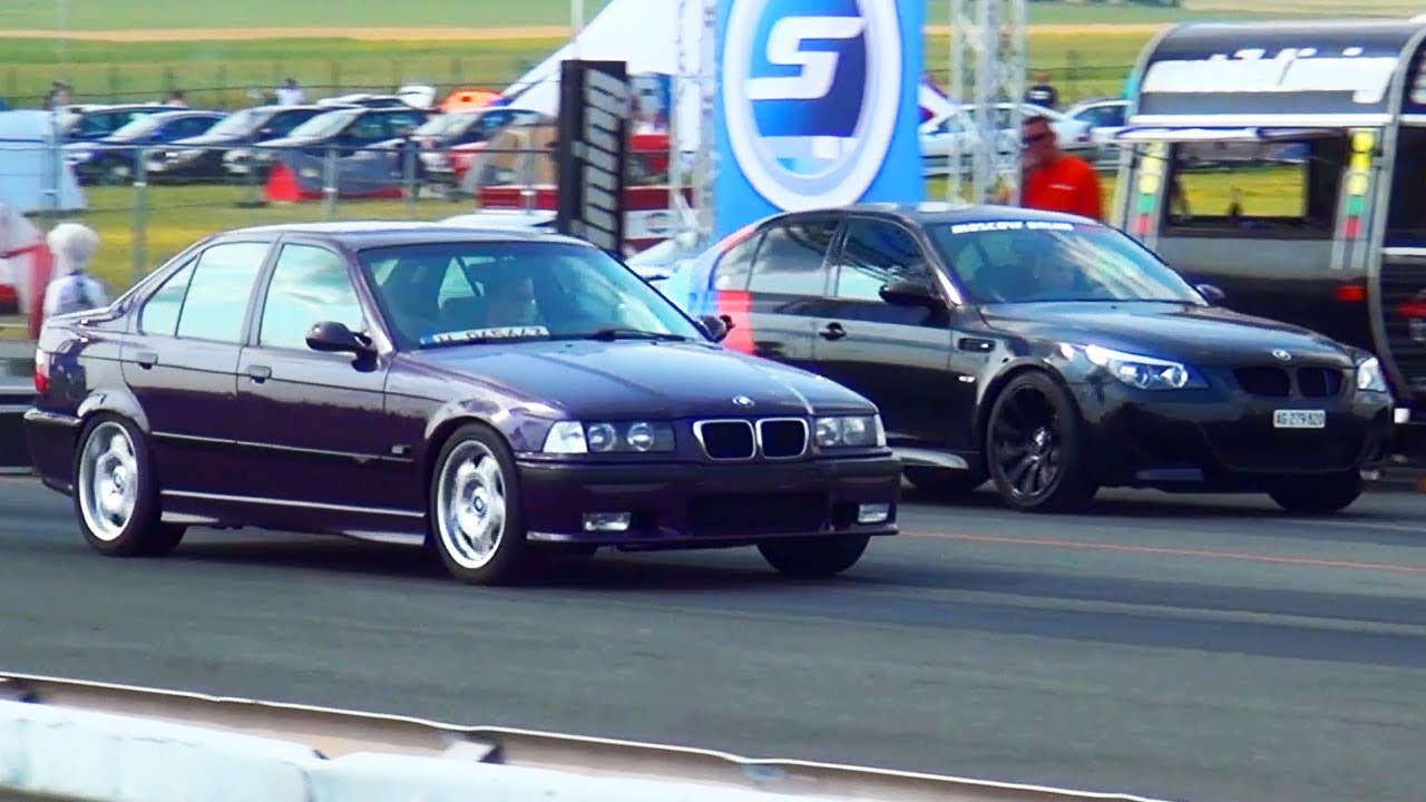 bmw m5 e60 vs bmw m3 e36 drag race 1 4 mile. Black Bedroom Furniture Sets. Home Design Ideas