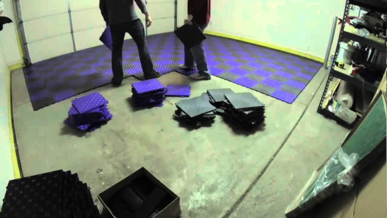 Garage Flooring Grid Lock Tiles Installation YouTube