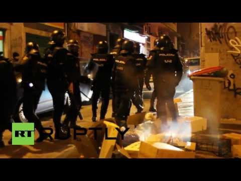 Spain: Madrid's streets burn as thousands protest