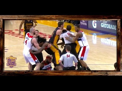 Lakers Nick Young Fight Breaks Out With Wizards Drew Gooden, Jordan Hill EJECTED, Players React