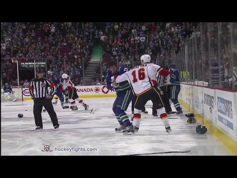 Flames vs Canucks line brawl Jan 18, 2014