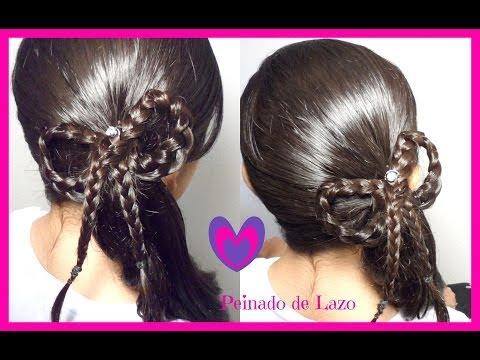 Peinado: Coleta Con Trenza De Lazo/Moño  Peinados Para Ninas CositasyManualidades