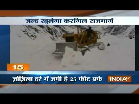 Snow being cleared from Rashtriya rajmarg in Srinagar before elections