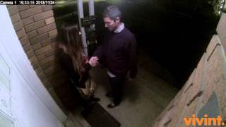 [Dude friendzoned on doorstep caught by security camera.] Video