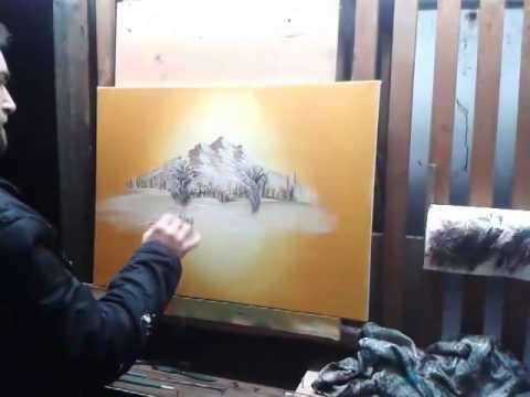 SÜLEYMAN ABACI Yağlı Boya Resim tablosu ; BOB ROSS; RESIM  YAPIMI  TEKNIYI; kozlu abacıoğlu KÖYÜ