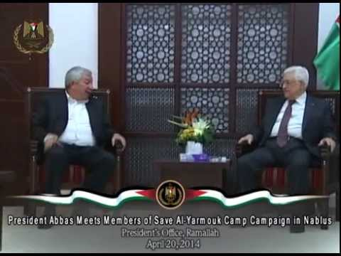 President Abbas Meets Members of Save Al Yarmouk Camp Campaign in Nablus