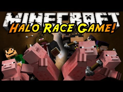 Minecraft Mini-Game : HALO RACE!, RACE YOUR PIGGIES TO THE END OF THE TRACK WITHOUT GETTING HIT OFF INTO LAVA BY THE ARROW SHOOTING SNIPER! WHO WILL HAVE WHAT IT TAKES TO BE THE BEST PIGGY WR...